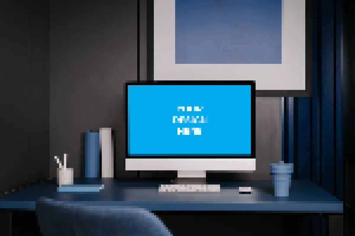 iMac on the dark-blue table