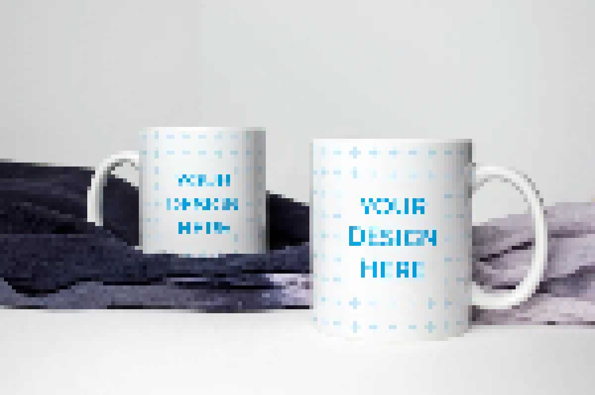 Ceramic mugs with a blanket