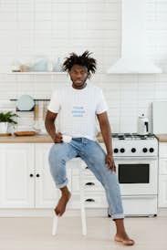 African-American man wearing a T-shirt