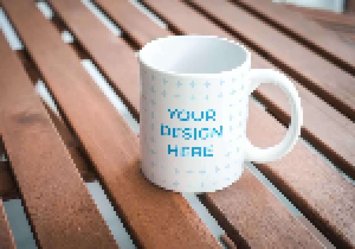 Ceramic mug on wooden table