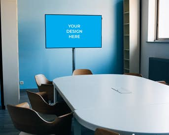 Smart TV in the conference room near the table