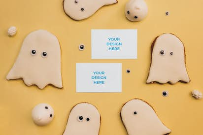 Business cards 85x55mm in the Halloween scene