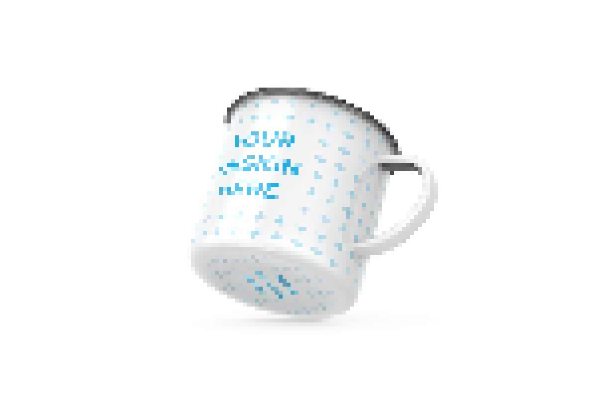 Enamel mug with matte and glossy finish
